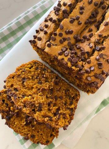 sliced pumpkin chocolate chip bread