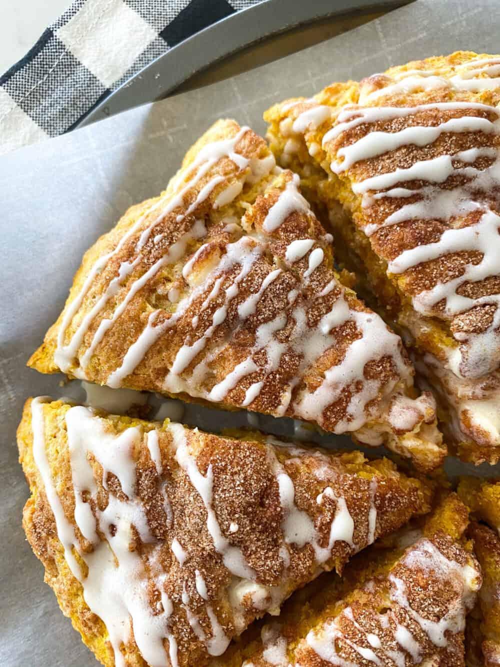 close up of baked pumpkin scones