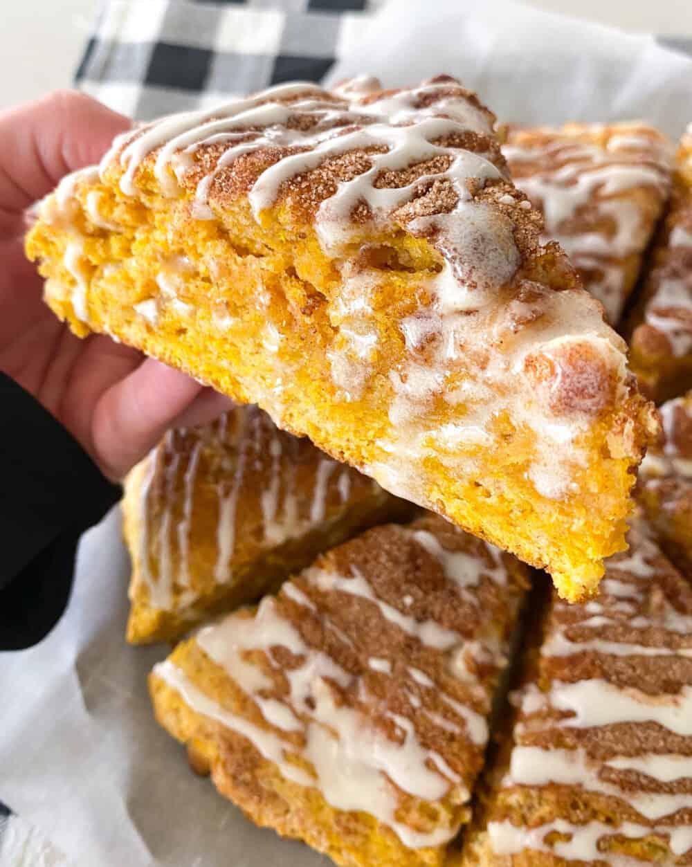 showing inside of baked pumpkin scones