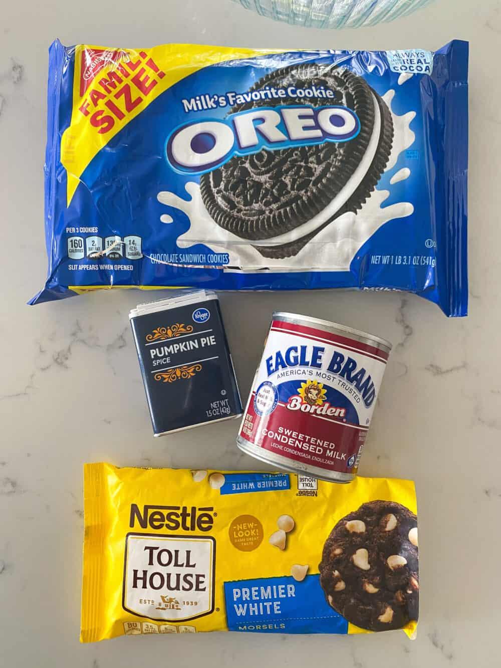 ingredients for Oreo fudge