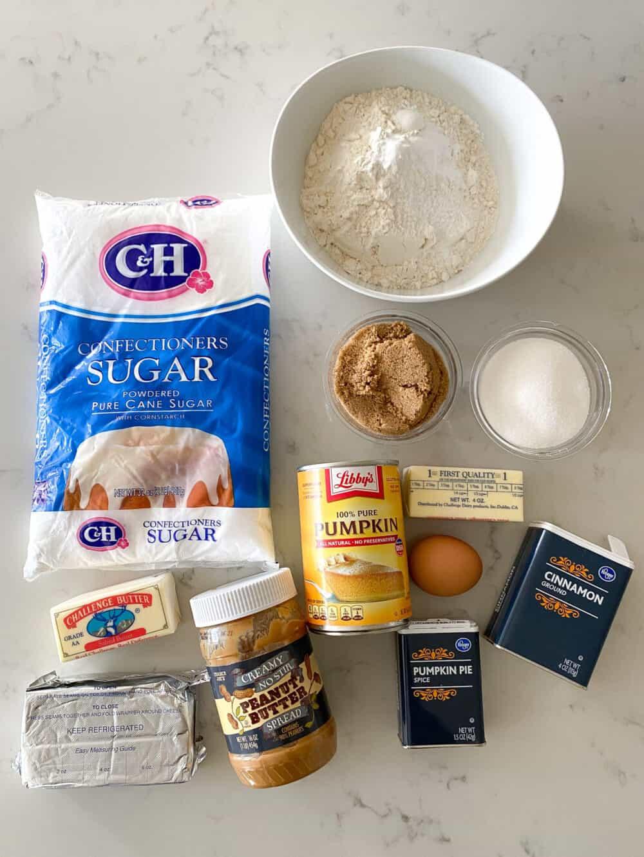ingredients for pumpkin cheesecake bars