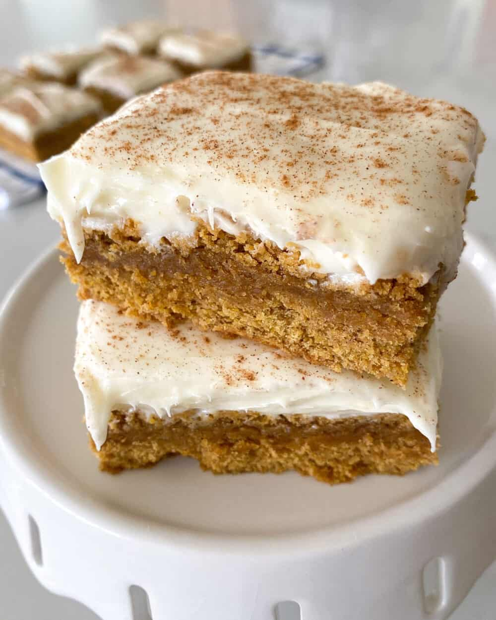 stacked frosted pumpkin bars recipe