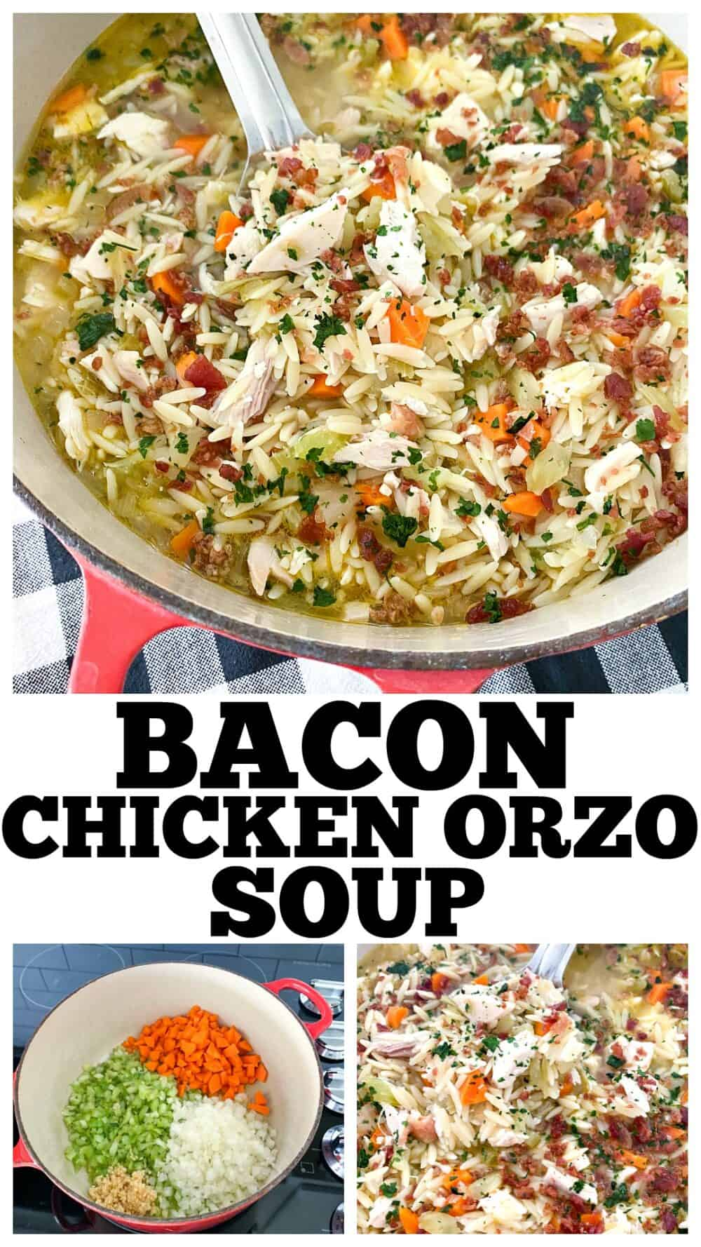 photo collage of chicken orzo soup