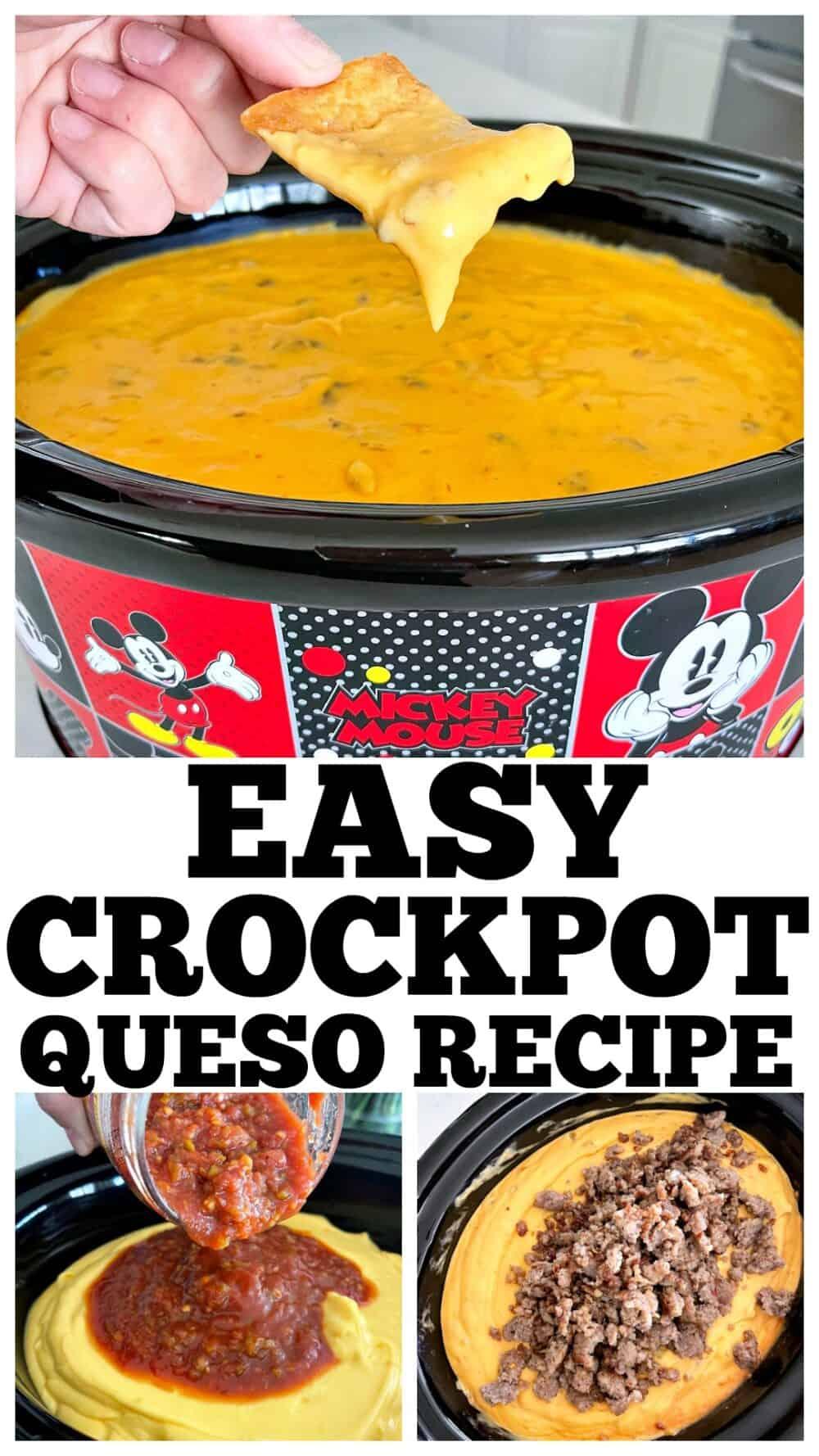 photo collage of crockpot queso recipe