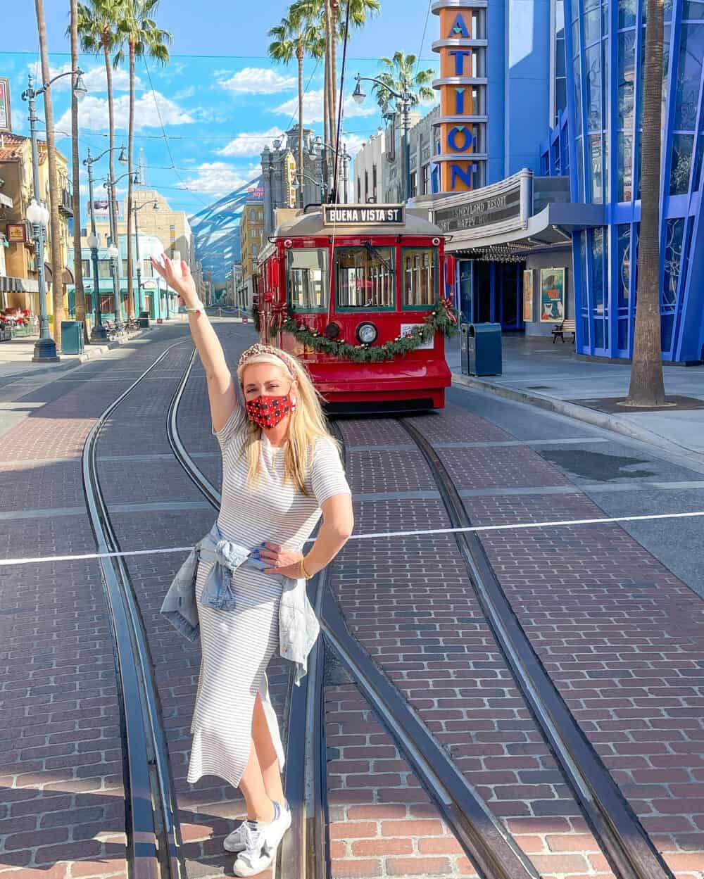 red car trolley buena vista street