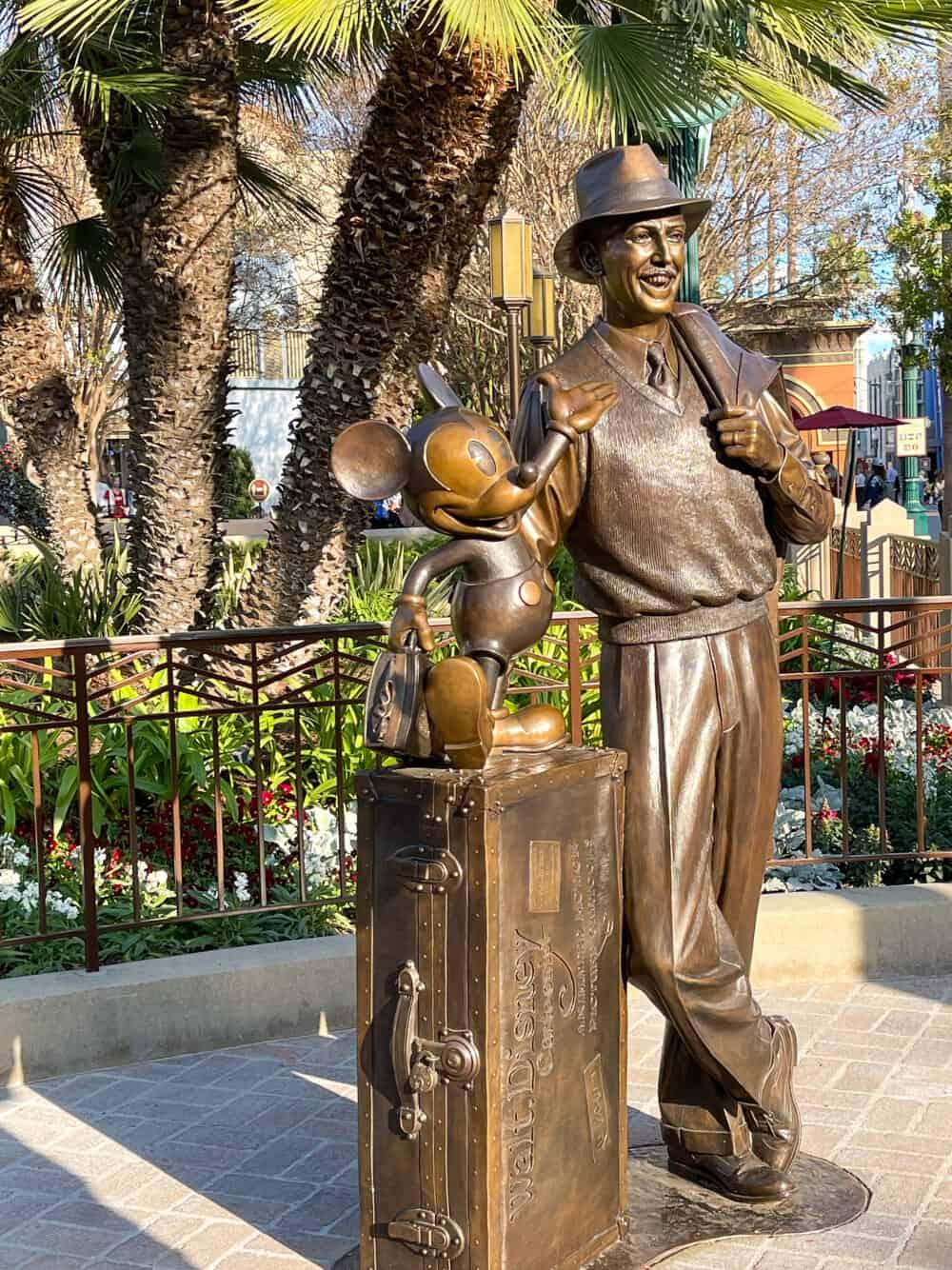 walt and mickey statue