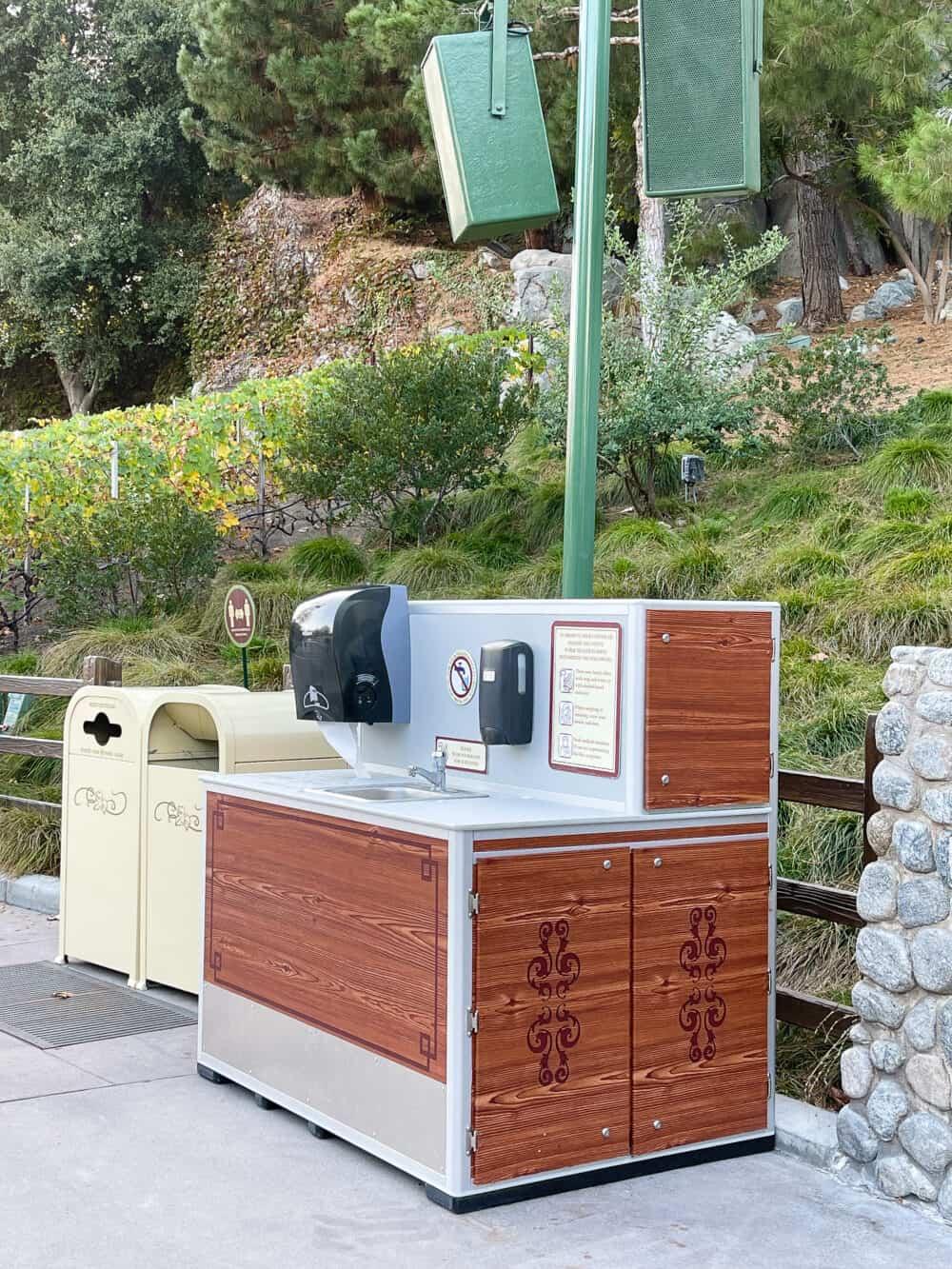 hand washing station buena vista street