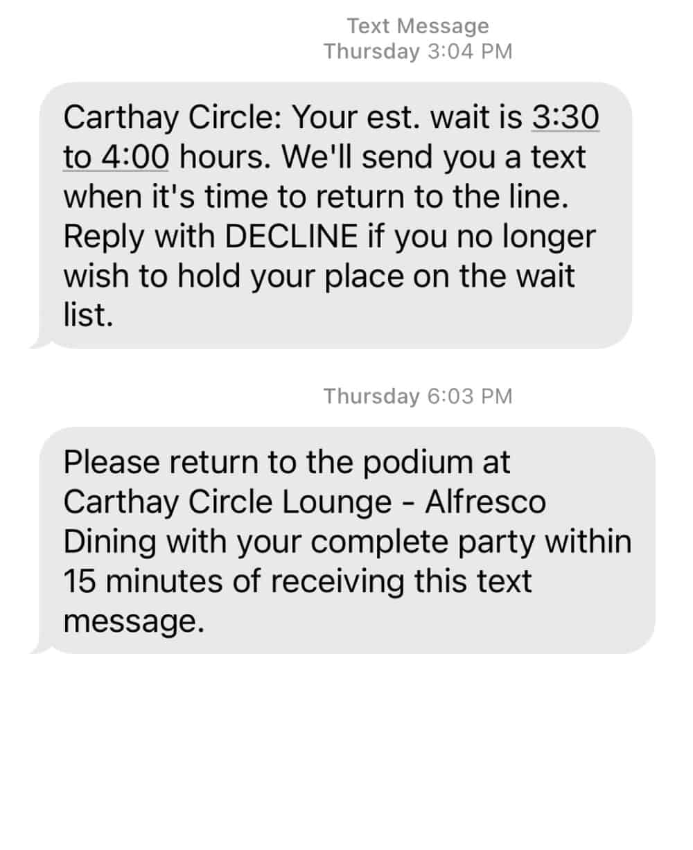 return texts from Carthay Circle reservation