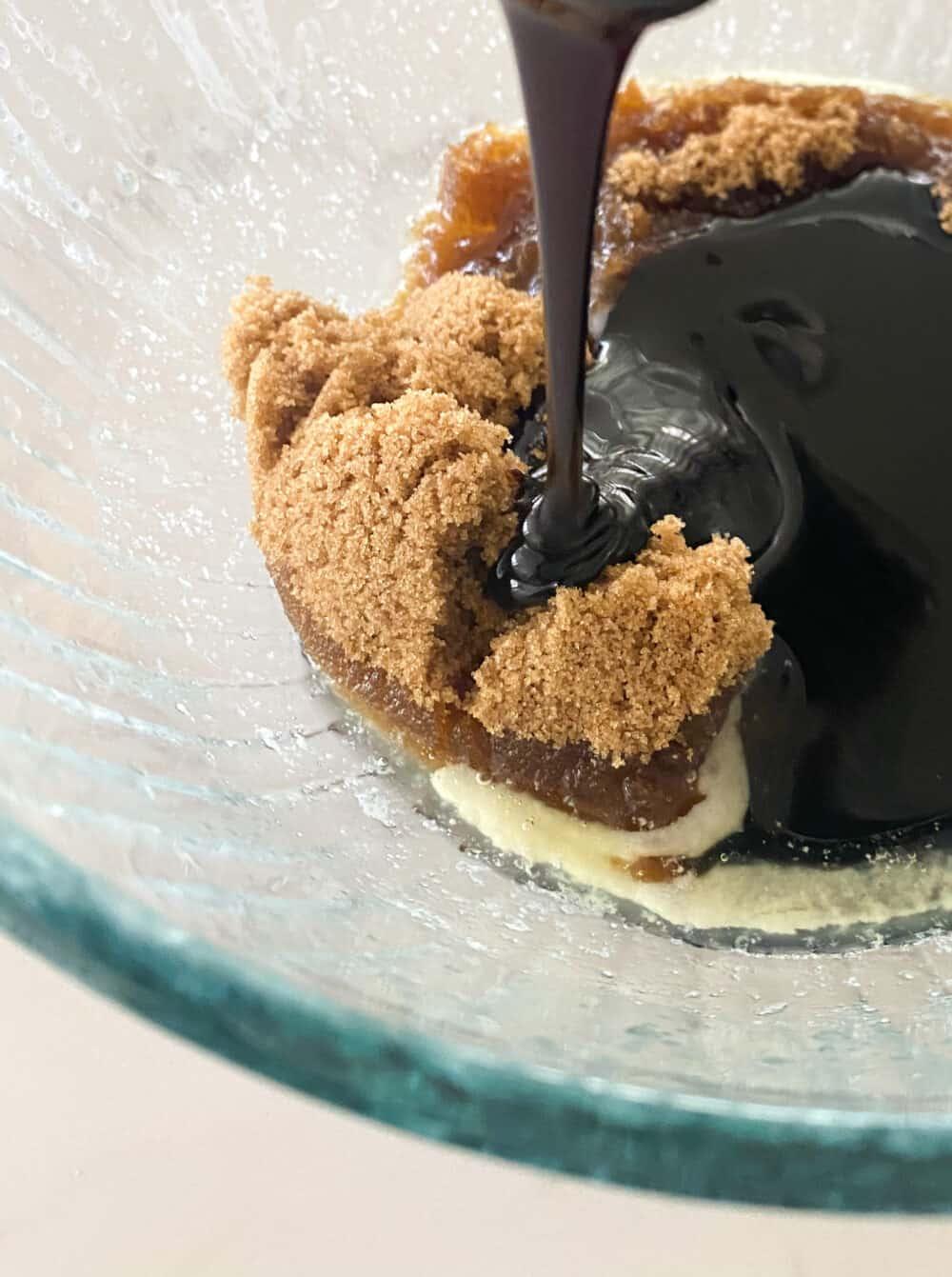 combining wet ingredients for gingerbread cake