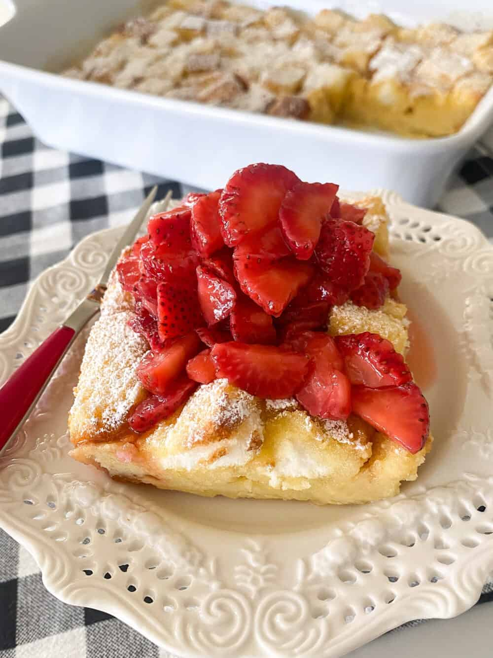 baked strawberry shortcake with strawberries