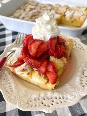 strawberry shortcake on serving plate