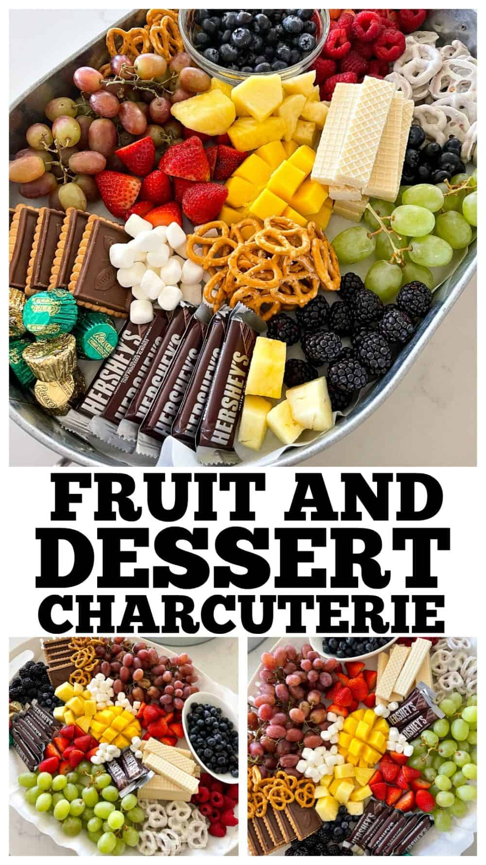 photo collage of dessert charcuterie board