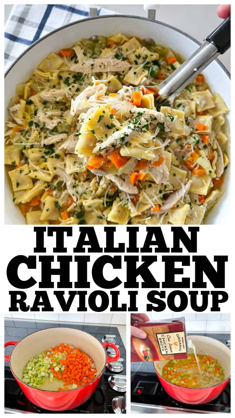 photo collage of ravioli soup