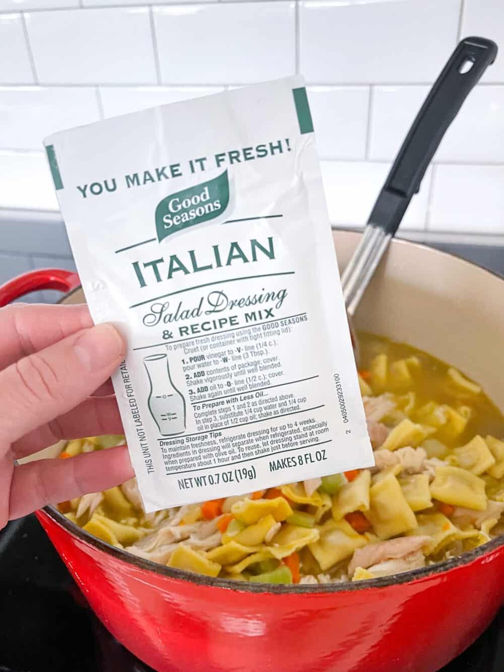 italian seasoning added to ravioli soup