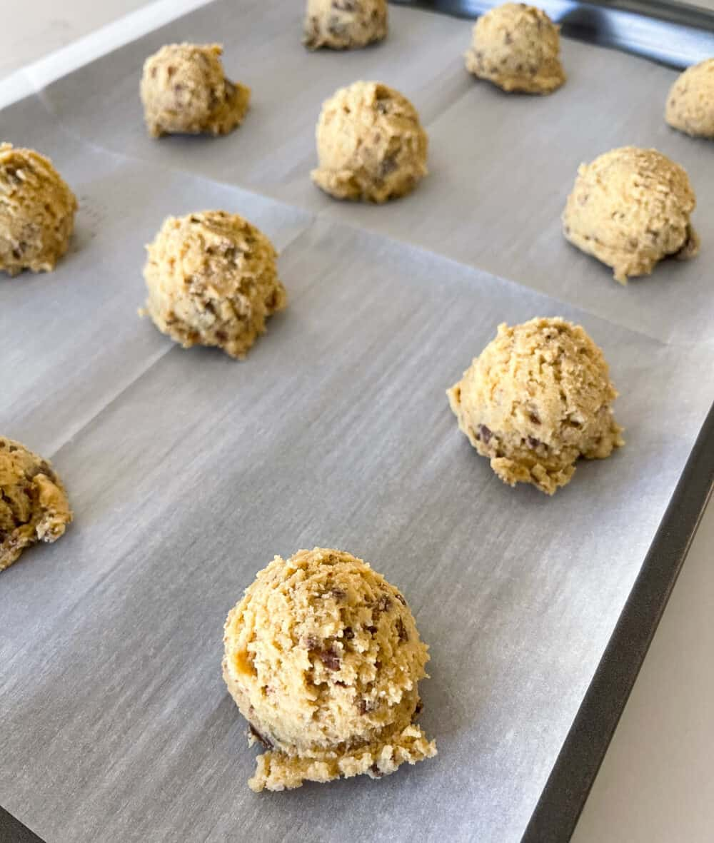 best chewy chocolate chip cookies on baking sheet
