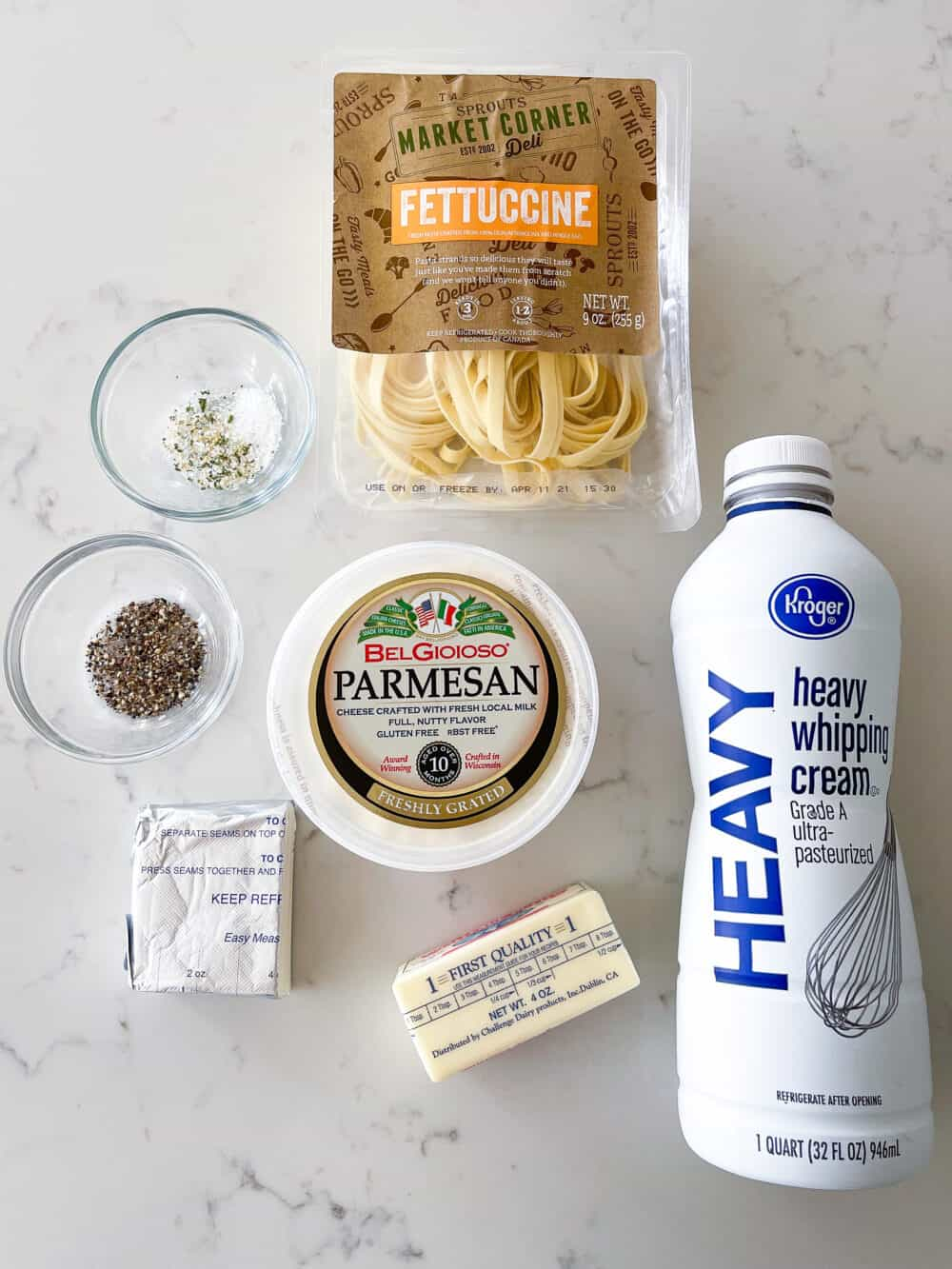 ingredients for homemade alfredo sauce