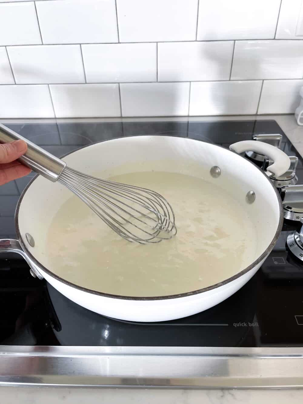 melting butter, cream cheese and cream in saucepan