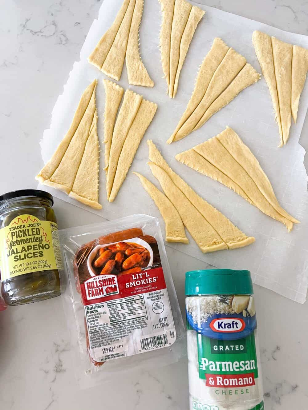 ingredients for mini pigs in a blanket