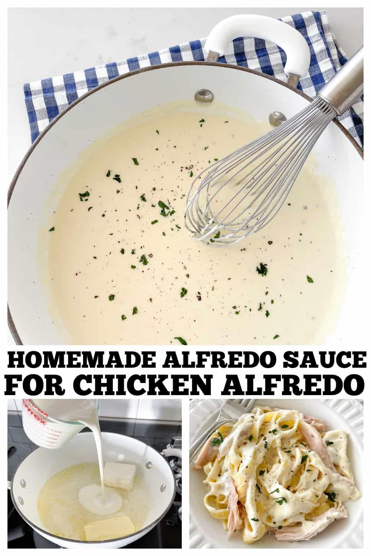 photo collage of homemade alfredo sauce