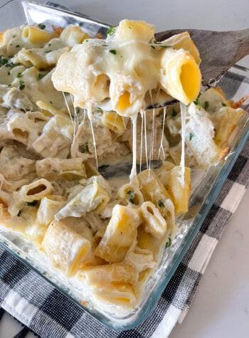 chicken alfredo pasta bake in baking pan