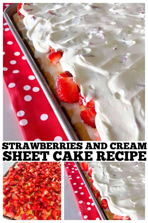 photo collage of sheet cake recipe