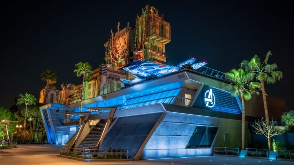 avengers campus at night