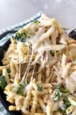 spooning up chicken pasta