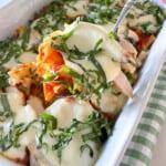 chicken parmesan pasta in baking dish
