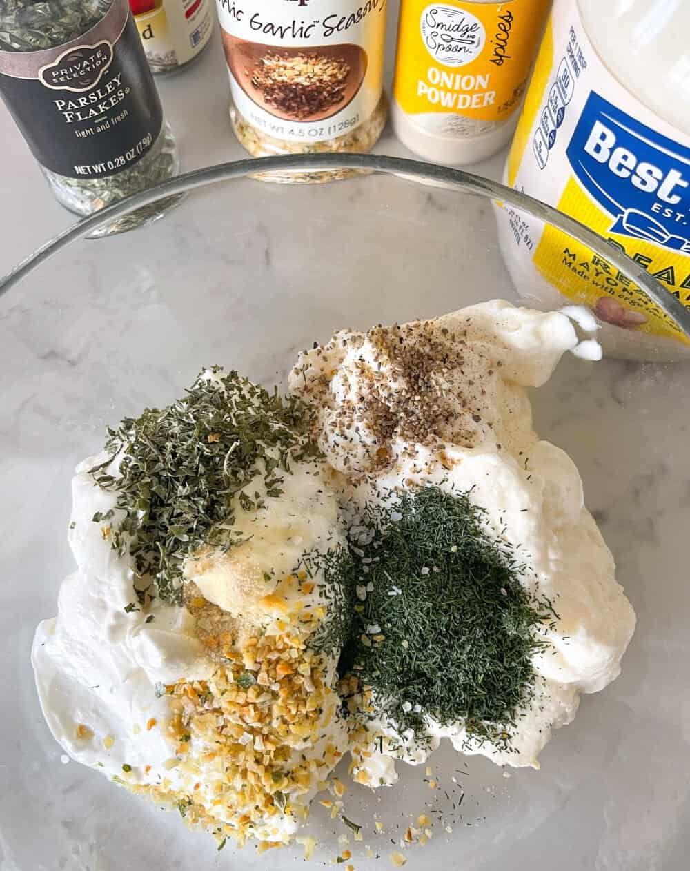veggie dip ingredients in mixing bowl