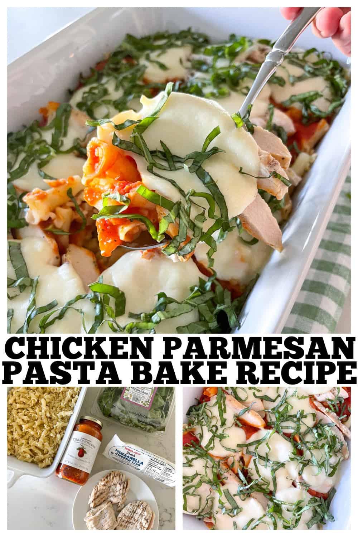 photo collage of chicken parmesan pasta