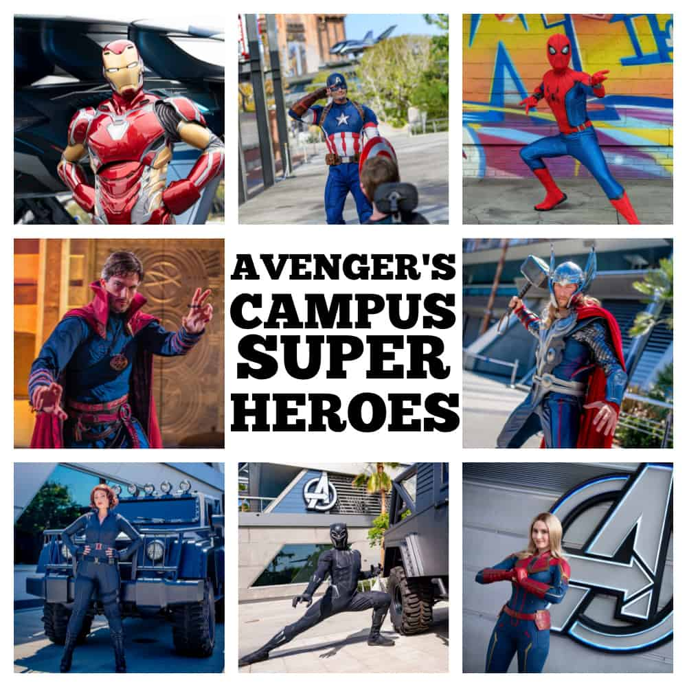 photo collage of avengers campus superheroes