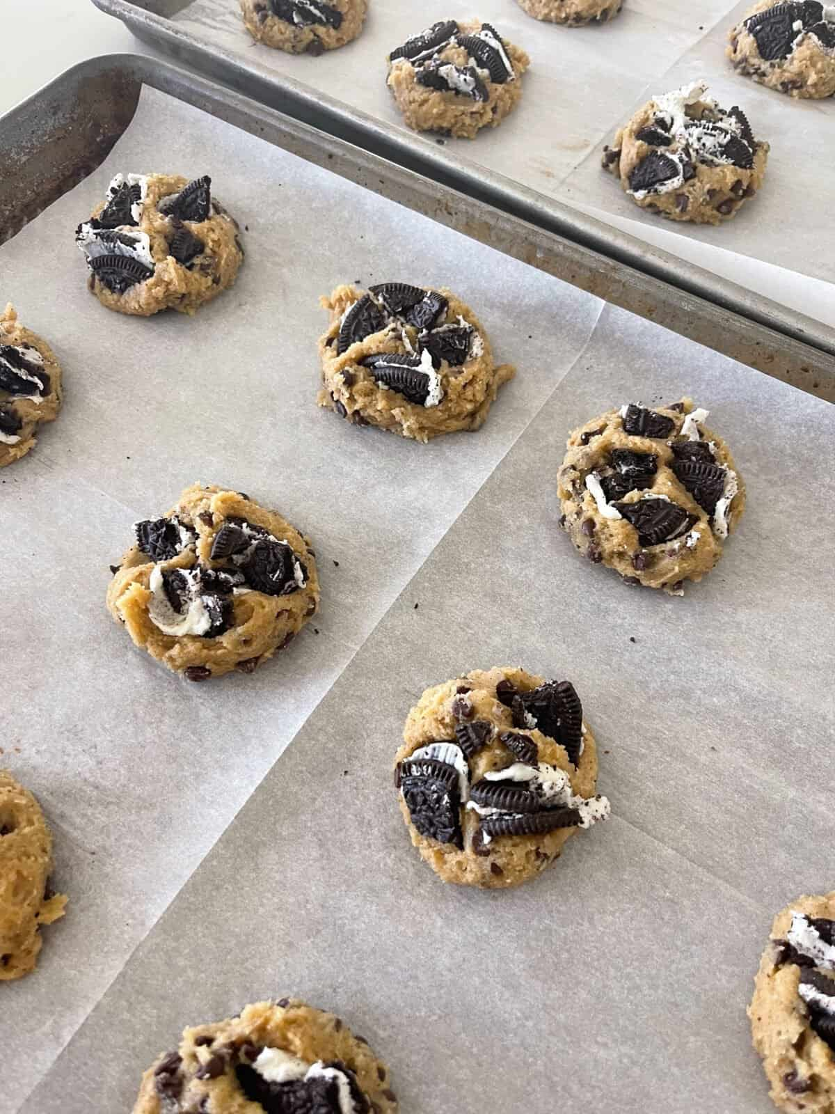 oreo cookie dough on baking sheet